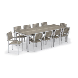 Travira Silver and Tekwood Vintage 11-Piece Table and Slat Armchair Dining Set