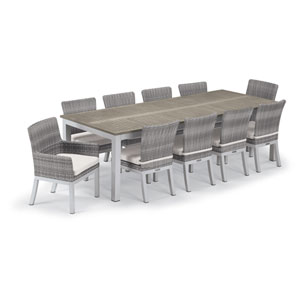 Travira Silver and Vintage 11-Piece Dining Set With Eggshell White Cushions