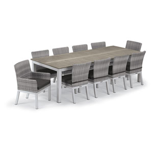 Travira Silver and Vintage 11-Piece Dining Set With Jet Black Cushions