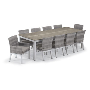 Travira Silver and Vintage 11-Piece Dining Set With Stone Cushions