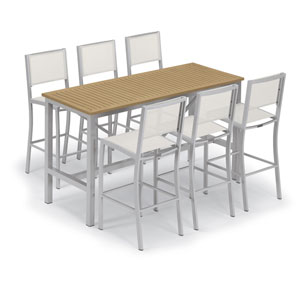 Travira Silver and Natural 7-Piece Bar Table and Sling Bar Chair Set With Natural Chairs