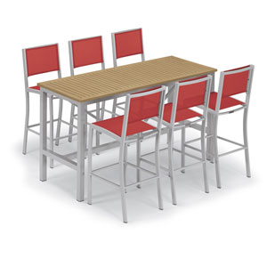 Travira Silver and Natural 7-Piece Bar Table and Sling Bar Chair Set With Red Chairs