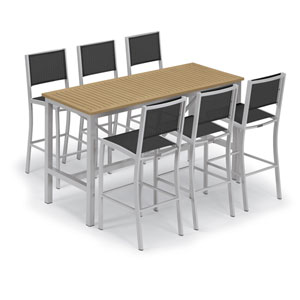 Travira Silver and Natural 7-Piece Bar Table and Sling Bar Chair Set With Ninja Chairs