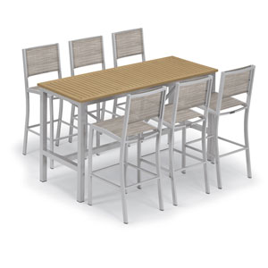 Travira Silver and Natural 7-Piece Bar Table and Sling Bar Chair Set with Bellows Chairs