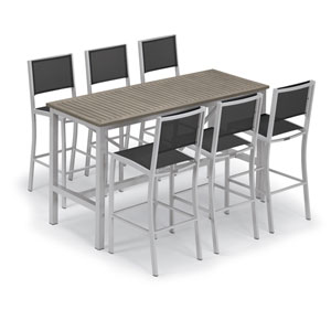 Travira Silver and Vintage 7-Piece Bar Table and Sling Bar Chair Set With Black Chairs