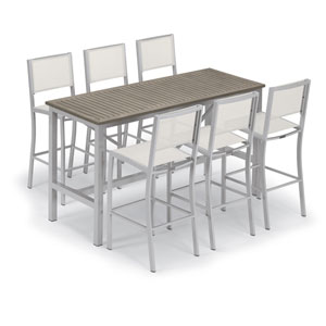 Travira Silver and Vintage 7-Piece Bar Table and Sling Bar Chair Set With Natural Chairs