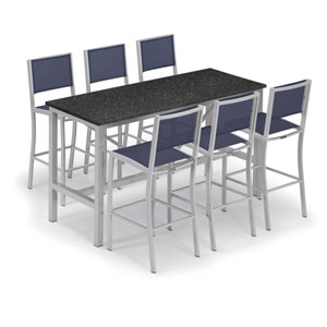 Travira Silver and Charcoal 7-Piece Bar Table and Sling Bar Chair Set With Blue Chairs