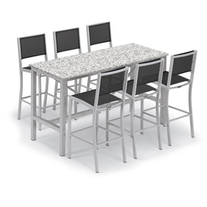 Travira Silver and Ash 7-Piece Bar Table and Sling Bar Chair Set With Black Chairs