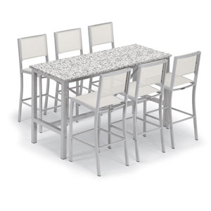 Travira Silver and Ash 7-Piece Bar Table and Sling Bar Chair Set With Natural Chairs