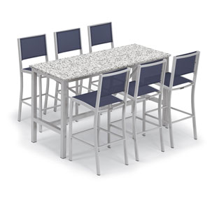 Travira Silver and Ash 7-Piece Bar Table and Sling Bar Chair Set With Blue Chairs