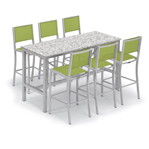 Travira Silver and Ash 7-Piece Bar Table and Sling Bar Chair Set With Green Chairs