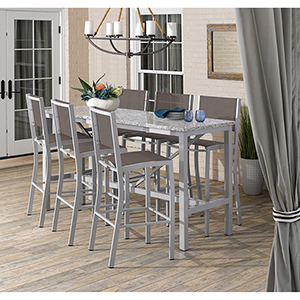 Travira Silver and Ash 7-Piece Bar Table and Sling Bar Chair Set With Cocoa Chairs