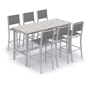 Travira Silver and Ash 7-Piece Bar Table and Sling Bar Chair Set With Titanium Chairs