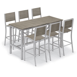 Travira Silver and Vintage 7-Piece Bar Table and Slat Bar Chair Set With Vintage Table Top