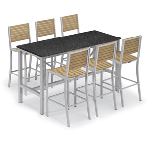 Travira Silver and Natural 7-Piece Bar Table and Slat Bar Chair Set with Charcoal Table Top