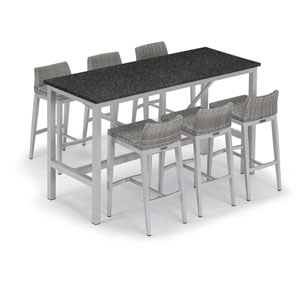 Travira Silver 7-Piece Bar Table and Argento Bar Stool Set With Charcoal Table Top