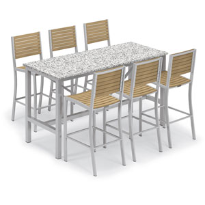 Travira Silver and Natural 7-Piece Bar Table and Slat Bar Chair Set With Ash Table Top