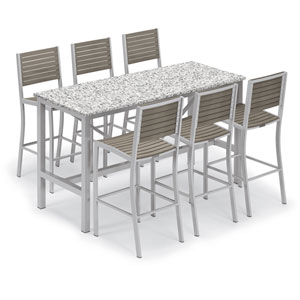 Travira Silver and Vintage 7-Piece Bar Table and Slat Bar Chair Set With Ash Table Top