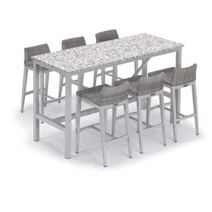 Travira Silver 7-Piece Bar Table and Argento Bar Stool Set With Ash Table Top