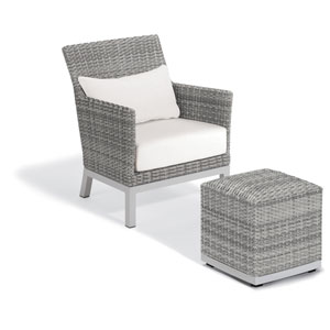 Argento Silver Club Chair and Pouf With Eggshell White Lumbar Cushions