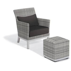 Argento Silver Club Chair and Pouf With Jet Black Lumbar Cushions