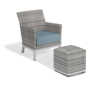 Argento Silver Club Chair and Pouf With Ice Blue Cushion
