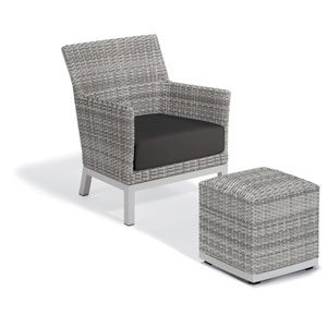 Argento Silver Club Chair and Pouf With Jet Black Cushion