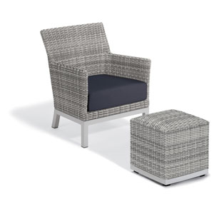 Argento Silver Club Chair and Pouf With Midnight Blue Cushion