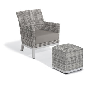 Argento Silver Club Chair and Pouf With Stone Cushion