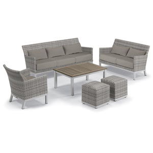 Argento Silver and Tekwood Vintage 6-Piece Club Chair and Travira Table Set With Stone Lumbar Pillows and Cushions
