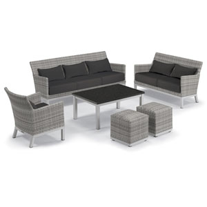 Argento Silver and Charcoal 6-Piece Club Chair and Travira Table Set With Jet Black Lumbar Pillows and Cushions