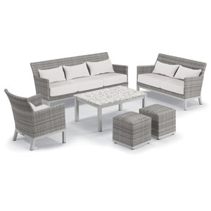 Argento Silver and Ash 6-Piece Club Chair and Travira Table Set With Eggshell White Lumbar Pillows and Cushions