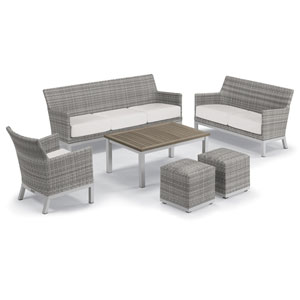 Argento Silver and Tekwood Vintage 6-Piece Club Chair and Travira Table Set With Eggshell White Cushions