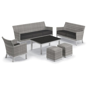 Argento Silver and Charcoal 6-Piece Club Chair and Travira Table Set With Jet Black Cushions