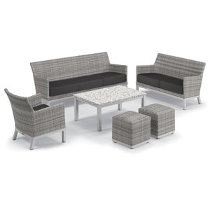 Argento Silver and Ash 6-Piece Club Chair and Travira Table Set With Jet Black Cushions
