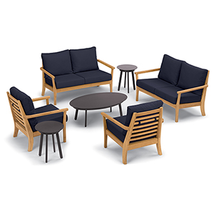 Mera 7-Piece Chat Set with Eiland Tables and Admiral Blue Cushions