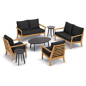 Mera 7-Piece Chat Set with Eiland Tables and Black Onyx Cushions