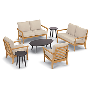 Mera 7-Piece Chat Set with Eiland Tables and Camel Cushions
