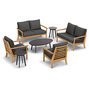 Mera 7-Piece Chat Set with Eiland Tables and Heather Black Cushions