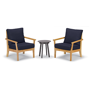 Mera 3-Piece Chat Set with Eiland Table and Admiral Blue Cushions