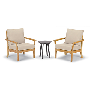Mera 3-Piece Chat Set with Eiland Table and Camel Cushions