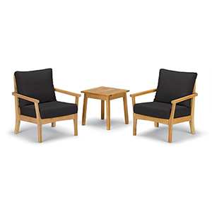 Mera 3-Piece Chat Set with Siena Table and Black Onyx Cushions