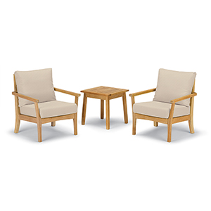 Mera 3-Piece Chat Set with Siena Table and Camel Cushions