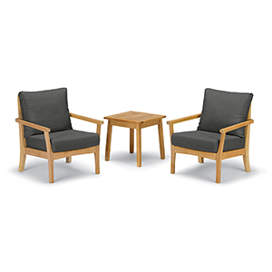 Mera 3-Piece Chat Set with Siena Table and Heather Black Cushions