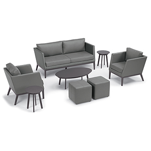 Salino Nickel 8-Piece Chat Set with Eiland Tables