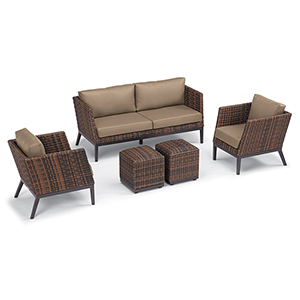 Salino Sable 5-Piece Woven Chat Set with Truffle Cushions
