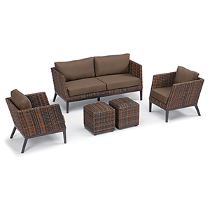 Salino Sable 5-Piece Woven Chat Set with Toast Cushions