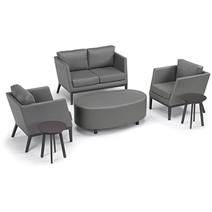 Salino Nickel 6-Piece Chat Set with Coffee Table Pouf and Eiland Tables