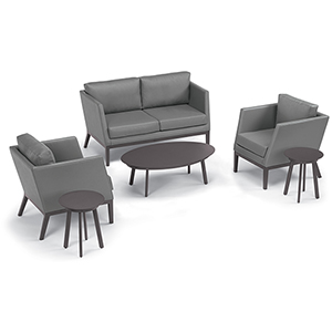 Salino Nickel 6-Piece Chat Set with Eiland Tables