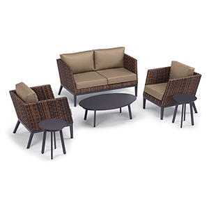 Salino Sable 6-Piece Woven Chat Set with Eiland Tables and Truffle Cushions